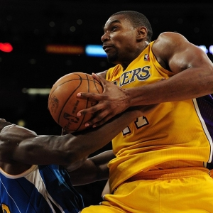 Andrew Bynum of the Los Angeles Lakers