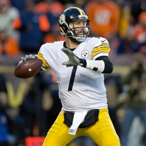 Steelers QB BEN ROETHLISBERGER readies to throw a pass during the 2nd. Half at Sports Authority Field at Mile High Sunday afternoon. The Broncos beat the Steelers 23-16 and advance the the AFC Championship game against the Patriots next week.