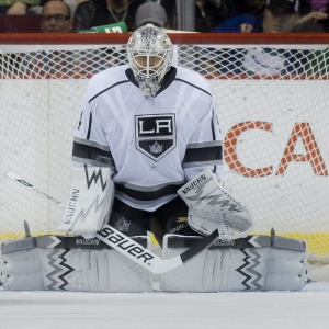 Goalie Ben Scrivens of the Los Angeles Kings