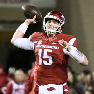 Cole Kelley of the Arkansas Razorbacks