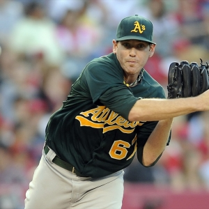 Oakland Athletics pitcher Dan Straily