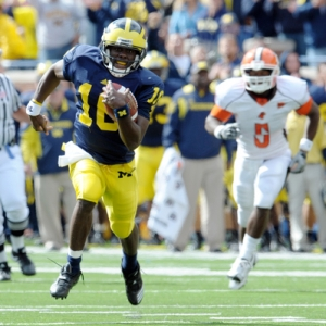 Quarterback Denard Robinson (16) of the University of Michigan