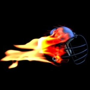football helmet on fire