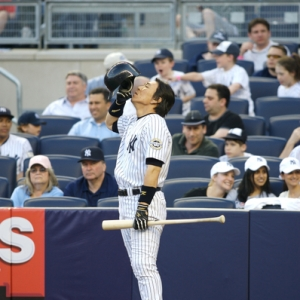 Hideki Matsui on deck during a weekend slugfest against the Indians in the first-ever homestand at the new Yankee Stadium.