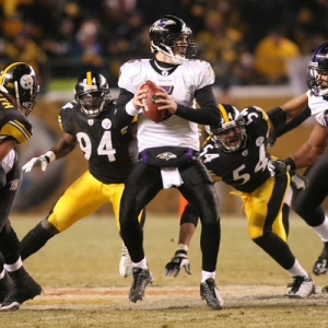 Joe Flacco, quarterback for the Baltimore Ravens.