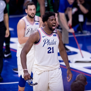 Philadelphia 76ers Center Joel Embiid (21) celebrates after a dunk in the first half of a home game.