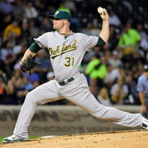 Oakland Athletics starting pitcher Jon Lester