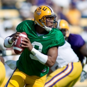 LSU quarterback (9) Jordan Jefferson
