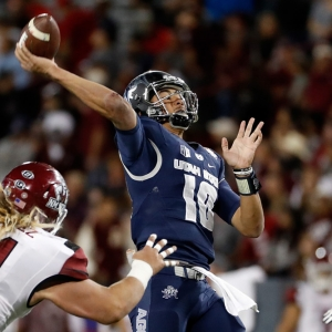 Quarterback Jordan Love of the Utah State Aggies