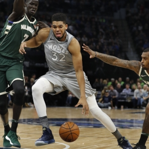 The Minnesota Timberwolves' Karl-Anthony Towns