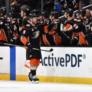 Anaheim Ducks defenseman Korbinian Holzer