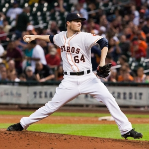 Houston Astros starting pitcher Lucas Harrell
