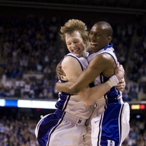 Duke guard Nolan Smith (2) celebrates with Duke forward Kyle Singler