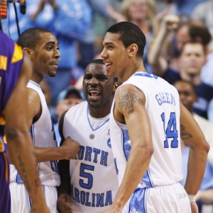 Danny Green (14) and Ty Lawson (5) from North Carolina basketball.