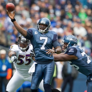 Quarterback Tarvaris Jackson of the Seattle Seahawks